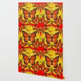 VICEROY BUTTERFLIES & YELLOW FLOWERS RED ART Wallpaper