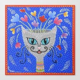 Cat Flowerpot Canvas Print