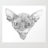 sphynx Art Prints featuring Sphynx by BlackNYX