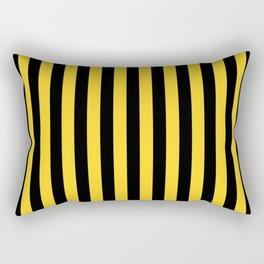 Yellow and Black Large Tent stripes Rectangular Pillow