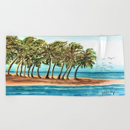 Private Island Painting Beach Towel