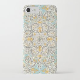 Gypsy Floral in Soft Neutrals, Grey & Yellow on Sage iPhone Case