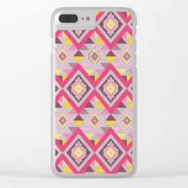 Modern Geometric Tribal Aztec – Mulberry Pink and Yellow Clear iPhone Case