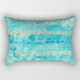 Gold in Deep Turquoise watercolor art Rectangular Pillow