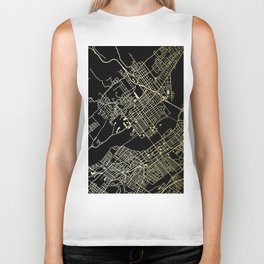 Wilkes-Barre Gold and Black Map Biker Tank