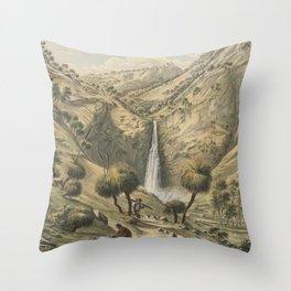 Fall of the First Creek, near Glen Osmond, South Australia by Eu von Guerard Date 1867  Romanticism Throw Pillow