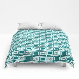 Teal Mid Century Modern Starburst Tiles Comforters