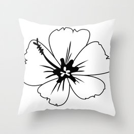 Imperfect Hibiscus Outline Throw Pillow