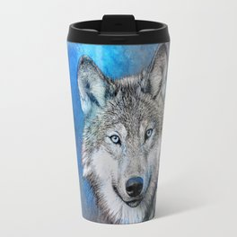 Blue Wolf Wildlife Mixed Media Art Travel Mug