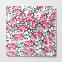 Elegant botanical pink green watercolor roses pattern Metal Print