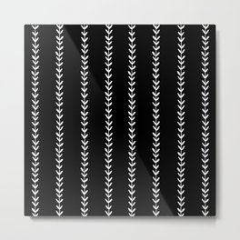 Linocut arrow stripes minimal black and white arrows chevrons Metal Print
