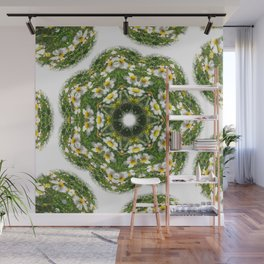 Little White Wildflower Kaleidoscope Art 2 Wall Mural