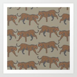 wild tigers pattern 1 Art Print