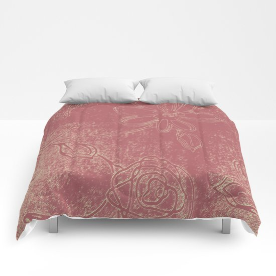 Light pink abstract design vintage velvet look with flowers Comforters