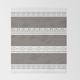 Bohemian grey&white monochromatic neutral pattern Throw Blanket