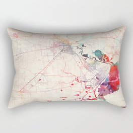 Beaumont map Texas painting square Rectangular Pillow