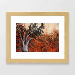 Red Abstract Landscape - orange red print  Framed Art Print