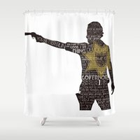 grimes Shower Curtains featuring Rick Grimes with Quotes by rlc82