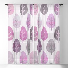 Watercolor Forest Pattern #3 Sheer Curtain
