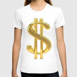 Gold Dollar Sign on White T-shirt