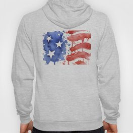 American Flag Watercolor Abstract Stars and Stripes Hoody