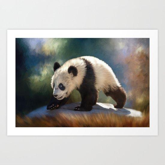 Cute panda bear baby Art Print