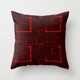 Red carved squares and frames for an abstract burgundy background or pattern. Throw Pillow