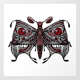 Demonic looking Moth that would look great as a lower back tattoo Art Print