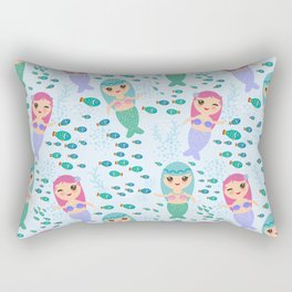 Mermaid with blue and pink hair cute kawaii girl Rectangular Pillow