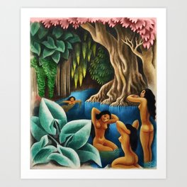 Bathing in the River by Miguel Covarrubias Art Print