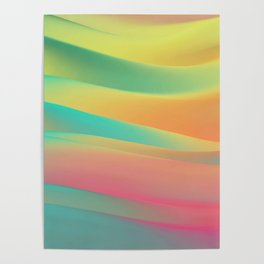 green and blue colorful wavy abstract mixer brush Poster
