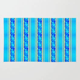 Blue Hibiscus Honu Stripes Rug