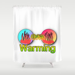 GLOBAL WARMING Graphic Design Illustration Shower Curtain