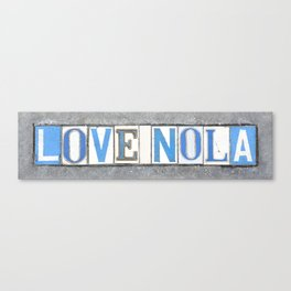 Love NOLA New Orleans Louisiana Southern Art Street Tiles Dirty South Old Letters Vintage Sign Canvas Print