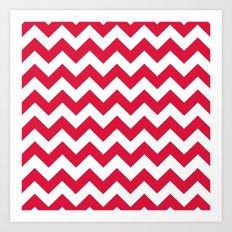 Chevron (Crimson/White) Art Print
