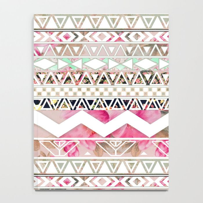 Aztec Spring Time! | Girly Pink White Floral Abstract Aztec Pattern Notebook
