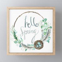 Hello Spring Eucalyptus Wreath with Nest Framed Mini Art Print