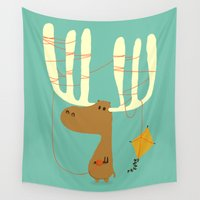 humor Wall Tapestries featuring A moose ing by Picomodi