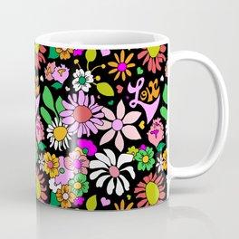 60's Lovers Floral in Black Coffee Mug