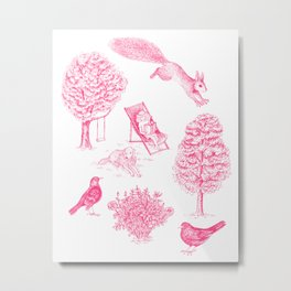 A Girl Reading in the Garden (White and Pink) Metal Print