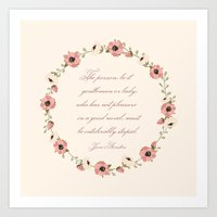 jane austen Art Prints featuring Jane Austen Quote by Patty Marq