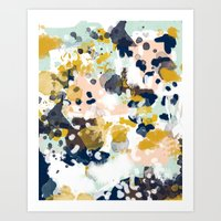 mint Art Prints featuring Sloane - Abstract painting in modern fresh colors navy, mint, blush, cream, white, and gold by CharlotteWinter