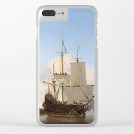 Vintage Ship Oil Painting Clear iPhone Case