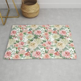 White and Pink Roses Pattern Rug