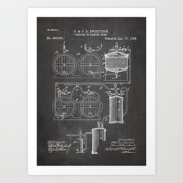 Brewery Patent - Beer Art - Black Chalkboard Art Print