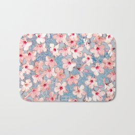 Shabby Chic Hibiscus Patchwork Pattern in Pink & Blue Bath Mat