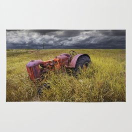 Abandoned Farm Tractor on the Prairie Rug