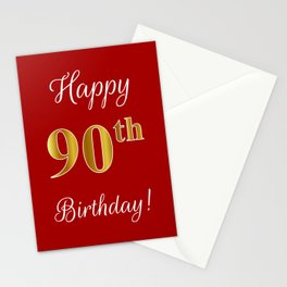 """Elegant """"Happy 90th Birthday!"""" With Faux/Imitation Gold-Inspired Color Pattern Number (on Red) Stationery Cards"""