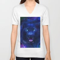panther V-neck T-shirts featuring Panther by Michael White