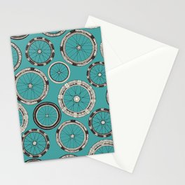 bike wheels turquoise Stationery Cards